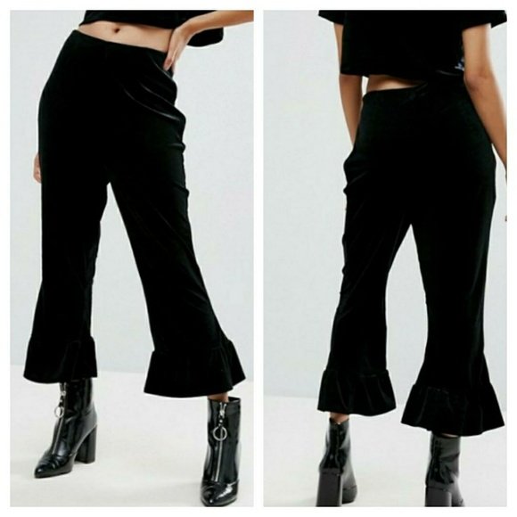 Velvet Flare Hem Culottes - Black Missguided 6SBOxv3ix